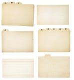 Satz von sechs Weinlese mit Laschen versehenen Karteikarten Stockfotografie