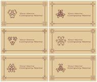 Satz von sechs Weinlesevisitenkarten stock abbildung