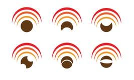 Satz von sechs Wi-Fiikonen Stockfoto