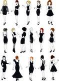 Satz von sechzehn Mannequins in den schwarzen Cocktailkleidern Stockbild