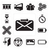Satz von senden, Batterie, Fotos, Hilfe, Ausgang, multiplizieren, umgehen, Hou lizenzfreie abbildung