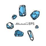 Satz von sieben blauen Steinen stock abbildung