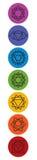 Satz von sieben chakra Symbolen Yoga, Meditation lizenzfreie abbildung
