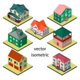 Satz von sieben ursprünglichen Häusern in isometrischem Lizenzfreie Abbildung