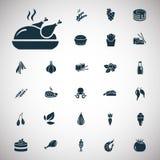 Satz von siebenundzwanzig Lebensmittelikonen Lizenzfreie Stockbilder