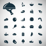 Satz von siebenundzwanzig Lebensmittelikonen Stockbilder