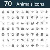 Satz von siebzig einfachen Tierikonen Lizenzfreie Stockfotografie