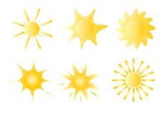 Satz von 6 Sonnenikonen stock abbildung