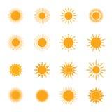 Satz von Sun-Symbol Lizenzfreie Stockbilder