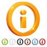 Satz von Symbol Info-7 in den verschiedenen Farben Stockfotografie