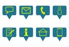 Satz von 8 Symbolen für Kommunikation Stockbilder