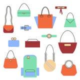 Satz von Taschen und von Handtasche Stockfotografie