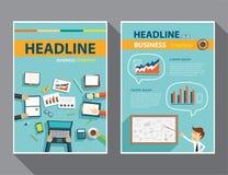 Satz von Titelseite, Flieger, flache Designschablonen der Broschüre Stockbild
