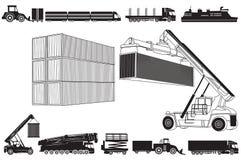 Satz von Transportikonen und von Transportkonzept Lizenzfreie Stockfotografie
