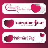 Satz von 3 Valentine Message-Fahnenanzeigen Stockfoto