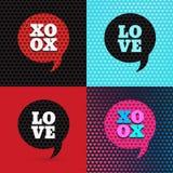 Satz von 4 Valentinsgrußtagesillustrationen und von Typografieelementen Lizenzfreies Stockfoto
