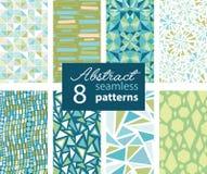 Satz von 8 Vektor-abstrakte Form-grün-blaue Wiederholungs-nahtlosen Mustern mit Dreiecken, Pfeile, Dots In Matching Prints Lizenzfreies Stockfoto