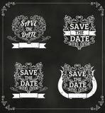 Satz von Vektor Abwehr das Datum, Heiratseinladungs-Weinlese Typograp Lizenzfreies Stockfoto