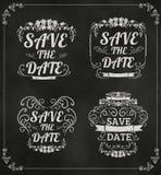 Satz von Vektor Abwehr die Datums-Hochzeitseinladung Karte auf Blackboar Lizenzfreies Stockbild