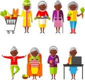 Satz von Vektor Illustration ein Gruppe der alten Frau in den verschiedenen Situationen Lizenzfreies Stockbild
