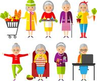 Satz von Vektor Illustration ein Gruppe der alten Frau in den verschiedenen Situationen Lizenzfreie Stockbilder