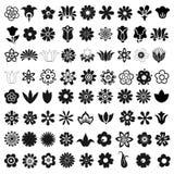 Satz von 72 Vektorikonenblumen Stockfotos