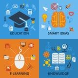 Satz von 4 Vektorkonzeptikonen für Bildung Lizenzfreie Stockbilder