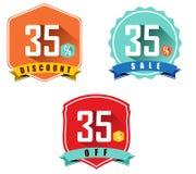 Satz von 35% Verkauf und von Rabatt, flaches Design des langen Schattens Farb, 35 weg Lizenzfreie Stockbilder