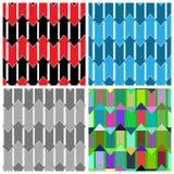 Satz von vier abstrakten nahtlosen Mustern, die aus farbigem arr bestehen Lizenzfreie Stockfotografie