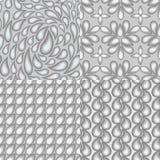 Satz von vier abstrakten nahtlosen Mustern, die das Thema O reflektieren Stockfotos