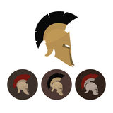 Satz von vier antiken Sturzhelmen, Vektorillustration Stockfotos