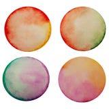 Satz von vier Aquarell gemalten Kreisen Stockbilder