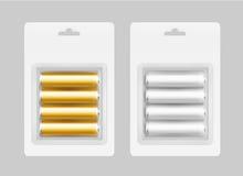 Satz von vier Batterien Gray Yellow Alkalines AA Stockbild