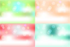 Satz von vier, bunt - rotes, blaues, orange Grün Stockfotos