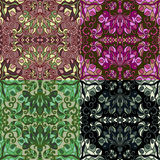 Satz von vier bunten nahtlosen Mustern Stockbilder