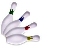 Satz von vier dekorativen aufgelockerten Bowlingspielstiften lizenzfreie stockfotografie