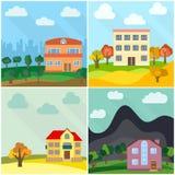 Satz von vier einsamen Häusern in der Natur Lizenzfreies Stockfoto