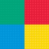 Satz von vier errichtenden Spielzeugziegelsteinen Nahtloses Muster Stockfotografie