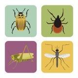 Satz von vier Farbflachen Insektenikonen Stockfotos