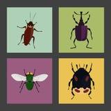 Satz von vier Farbflachen Insektenikonen Lizenzfreie Stockbilder
