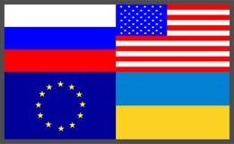 Satz von vier Flaggen-Ikonen: Eu der Europäischen Gemeinschaft, Ukraine MA, Russland ru, vereinigt Staaten von Amerika USA vektor abbildung