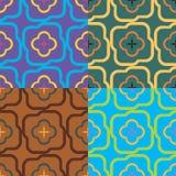 Satz von vier geometrischen nahtlosen Mustern Lizenzfreie Stockfotos