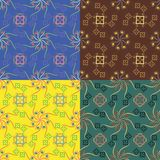 Satz von vier geometrischen nahtlosen Mustern Lizenzfreie Stockbilder