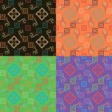 Satz von vier geometrischen nahtlosen Mustern Lizenzfreies Stockfoto