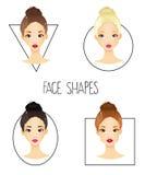 Satz von vier Gesichtsformen der unterschiedlichen Frau Lizenzfreies Stockfoto