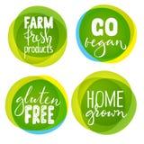 Satz von vier gesunden Lebensmittelkennzeichnungen mit Beschriftung Stockfotografie
