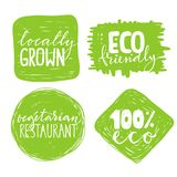Satz von vier gesunden Lebensmittelkennzeichnungen mit Beschriftung Stockbilder