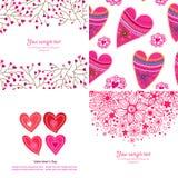 Satz von vier glücklichen Valentinsgrußtageshintergründen. Stockfotografie