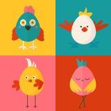 Satz von vier Hühnercharakteren Stockfotografie