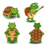 Satz von vier Karikaturschildkröten Lizenzfreie Stockfotografie